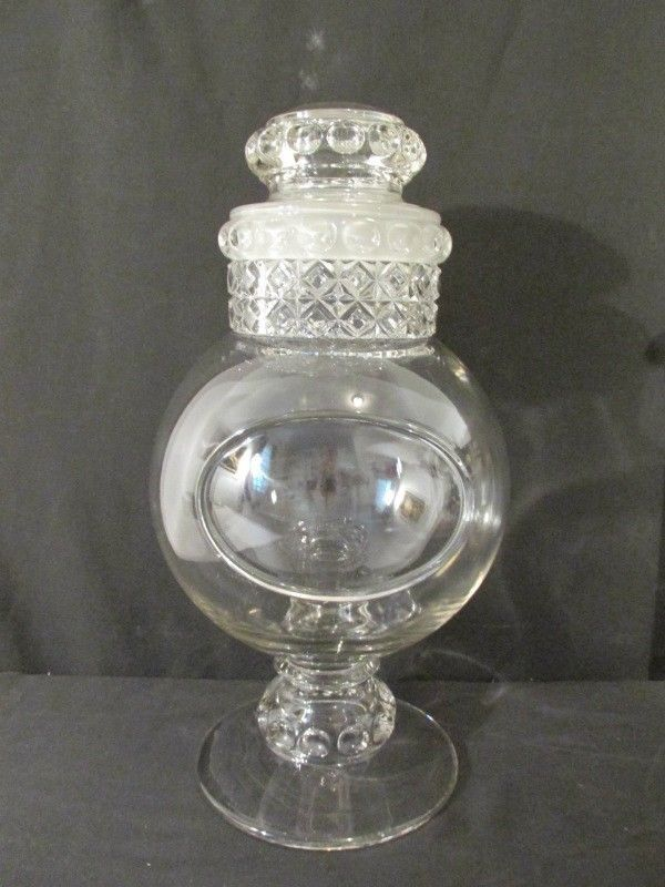 Antique Candy Jar 17 Tall C 1900 S Frosted Lid Label Soda Fountain