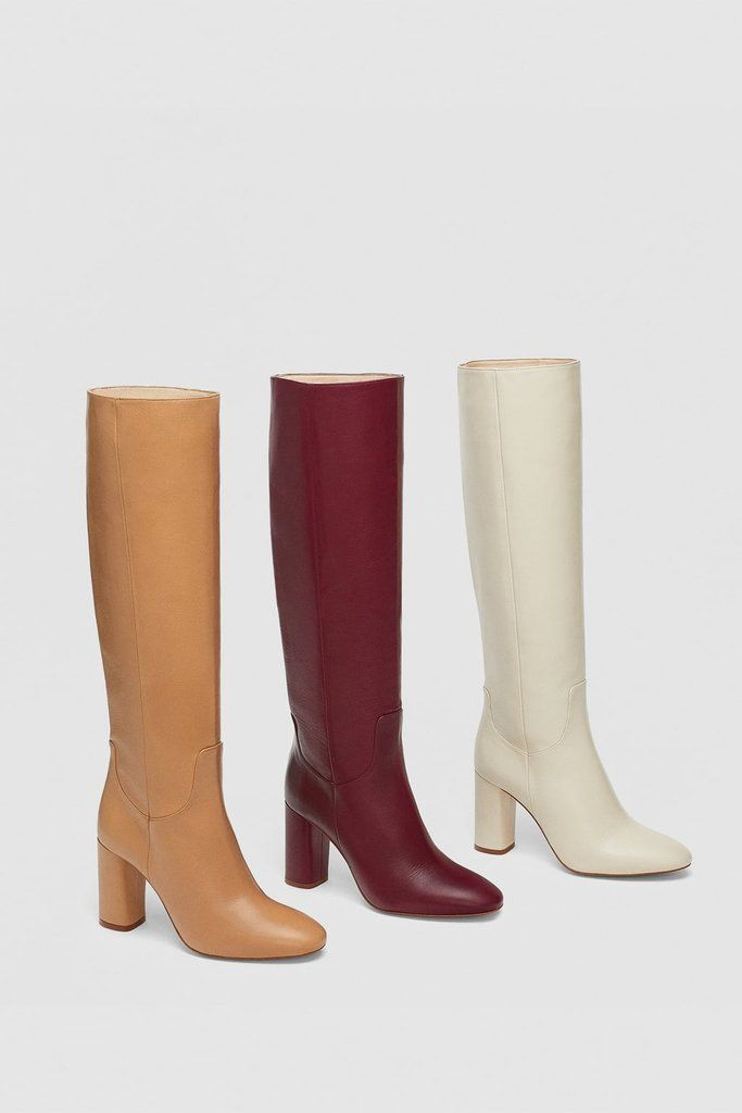 2ba9b877a1d7 Zara High Heeled Leather Boot   fall 2018 trend report   Leather high heel  boots, Leather boots, Boots