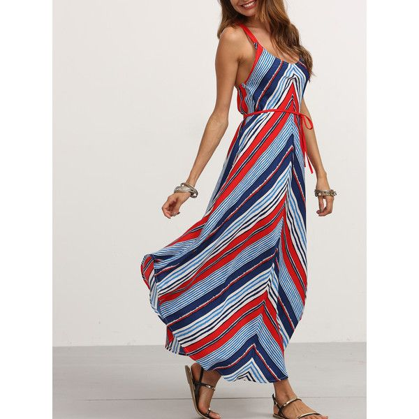 SheIn(sheinside) Multicolor Mixed Stripe Belted Cami Dress ($23) ❤ liked on Polyvore featuring dresses, long sundresses, beach dresses, long camisole, long sleeve camisole and striped shift dress
