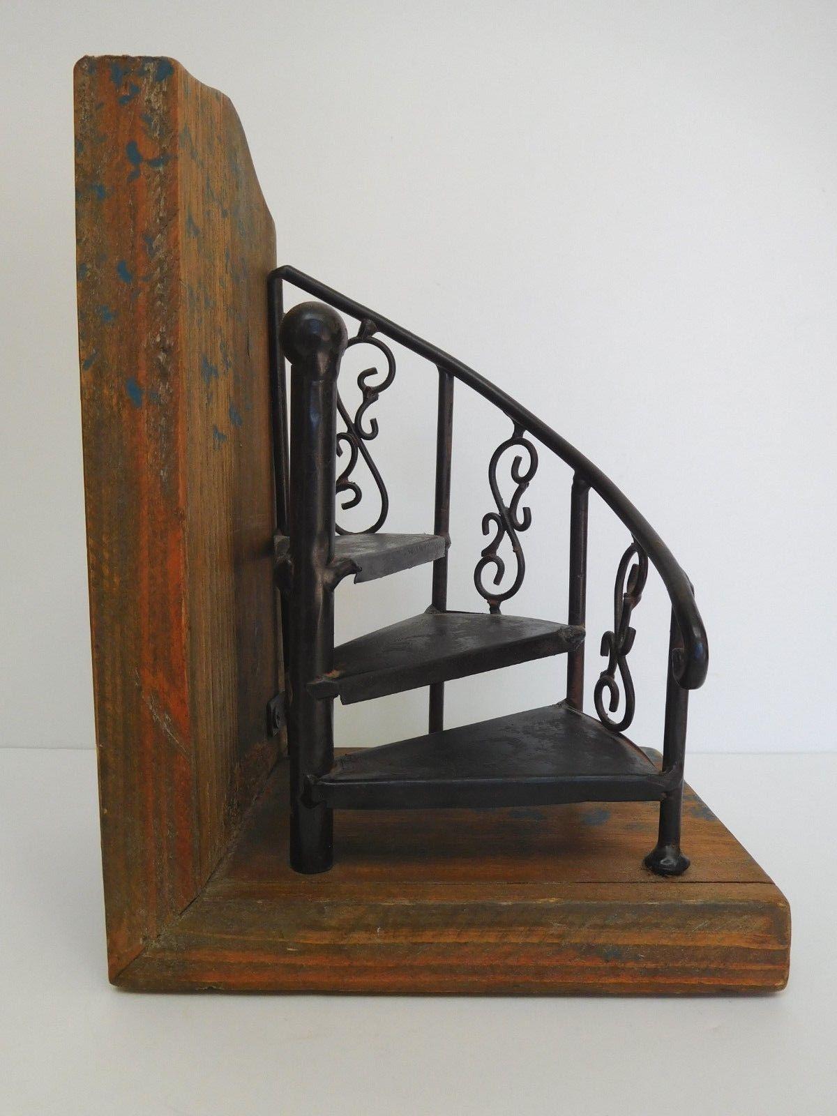 Best Wooden Metal Spiral Staircase Bookend Decor Figurine 400 x 300