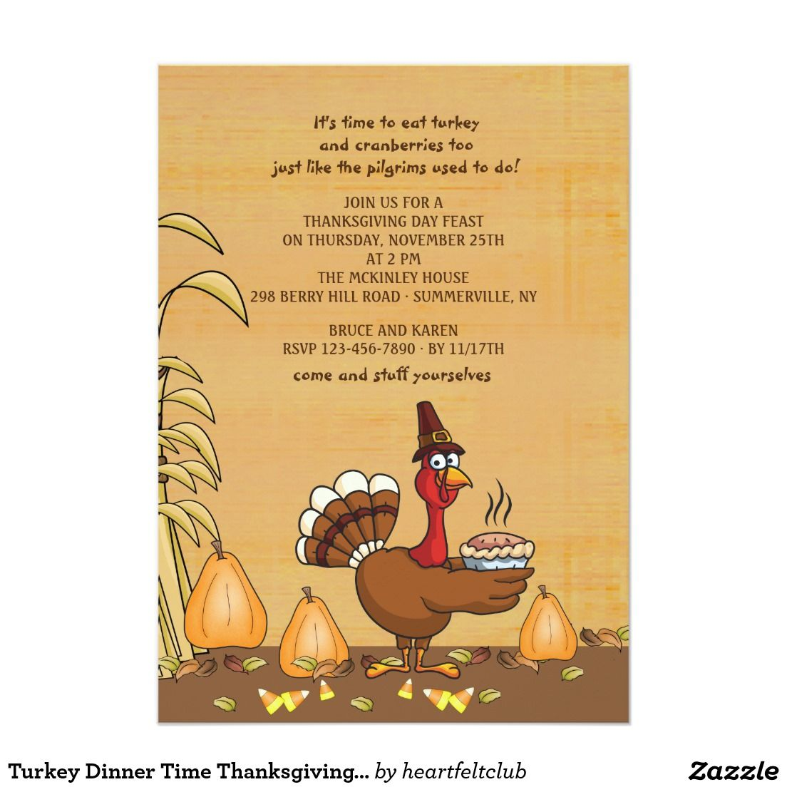 Turkey Dinner Time Thanksgiving Invitation  Thanksgiving
