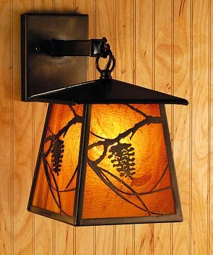 Rustic Lighting Sconce Amber Pine Cone Wall