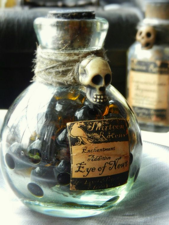 Large Glass Bottle Halloween Eye Of Newt Gothic Spooky Witchcraft Decor