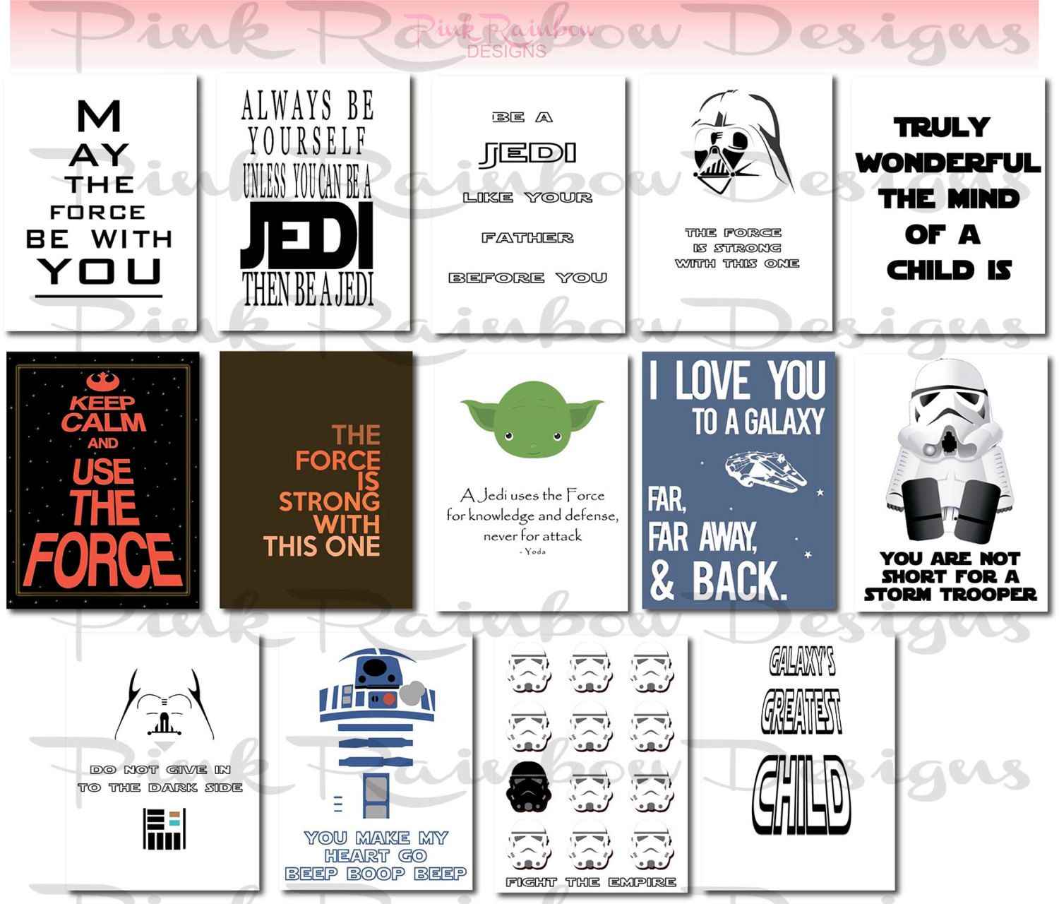 Inspirational Quotes About Loving Children Star Wars Lunch Note Cards  Inspirational  Motivational