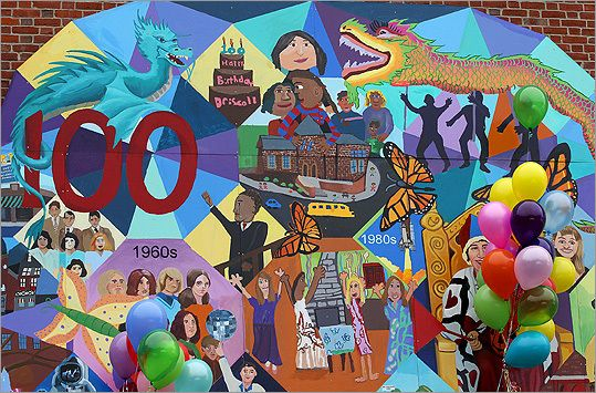 The Michael Driscoll School's Centennial Mural in Brookline was unveiled on the first weekend of May amid celebration. Titled 'How Time Flie...