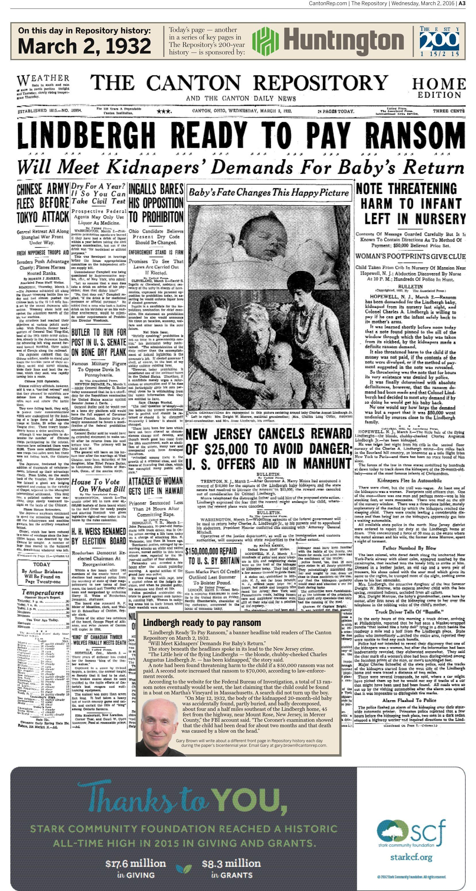 Lindbergh Baby Newspaper