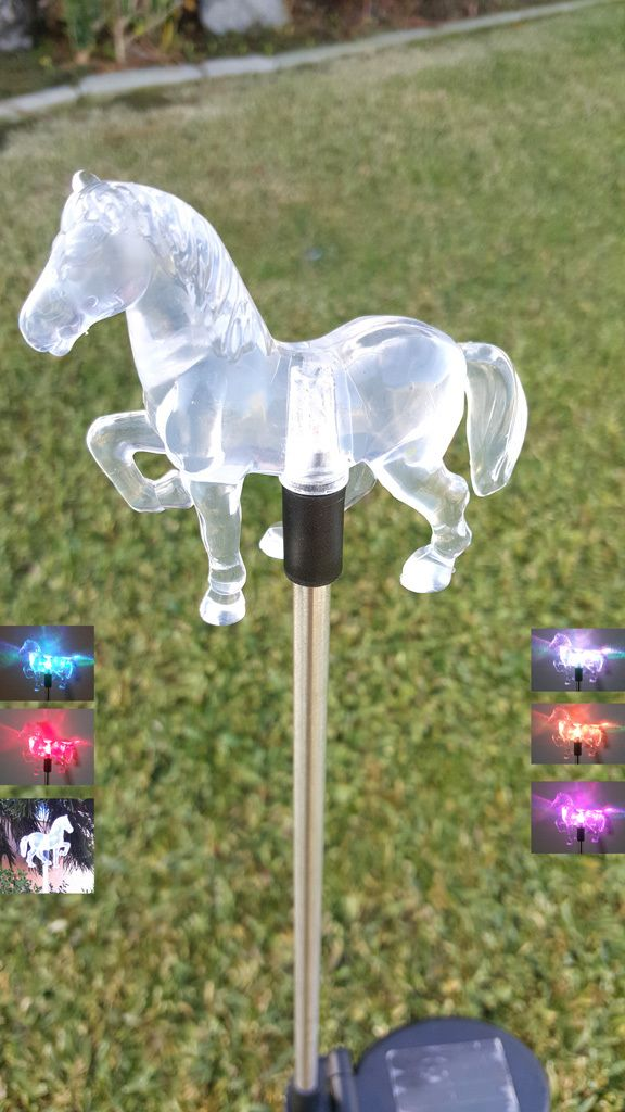 acrylic horse led solar light color change per box in home u0026 garden yard garden u0026 outdoor living outdoor lighting landscape u0026 walkway lights