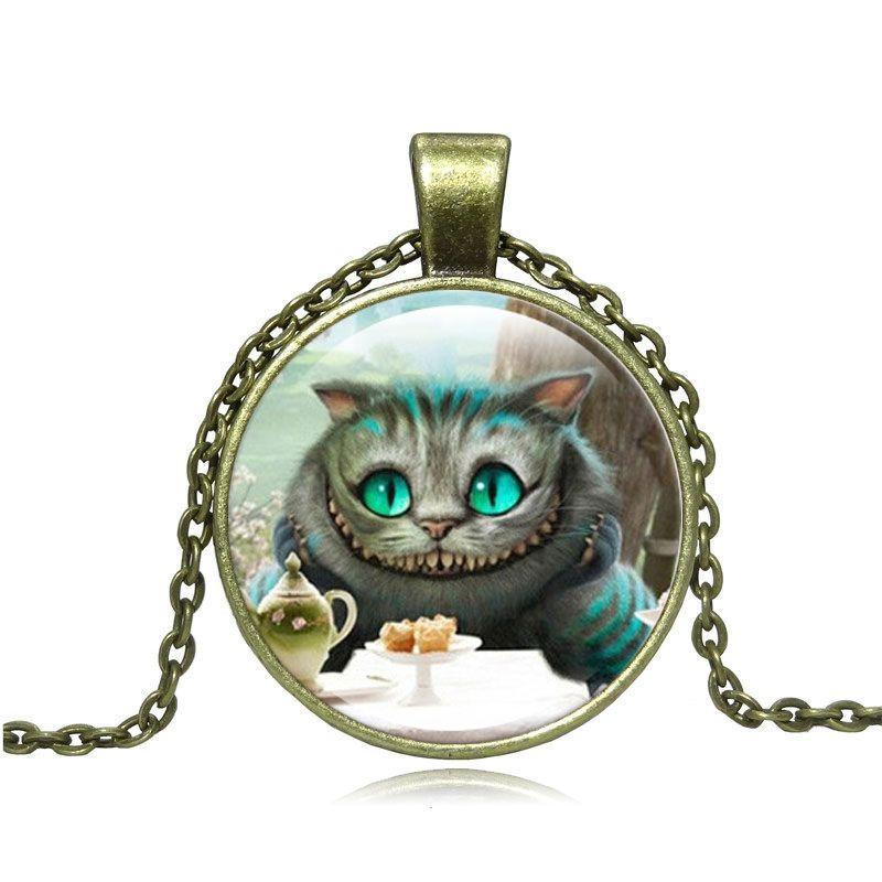 Cheshire Cat Pendente Della Collana In Vetro Cabochon Bronzo Dell'annata Dichiarazione Della Catena Della Collana Per Le Donne Gioielli di Moda