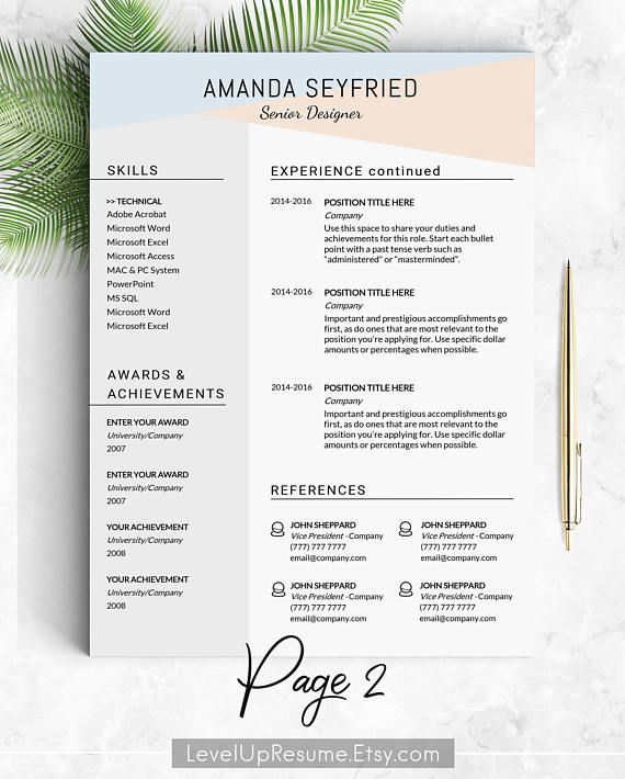 Feminine Resume Template Instant Download Cv Word Mac With