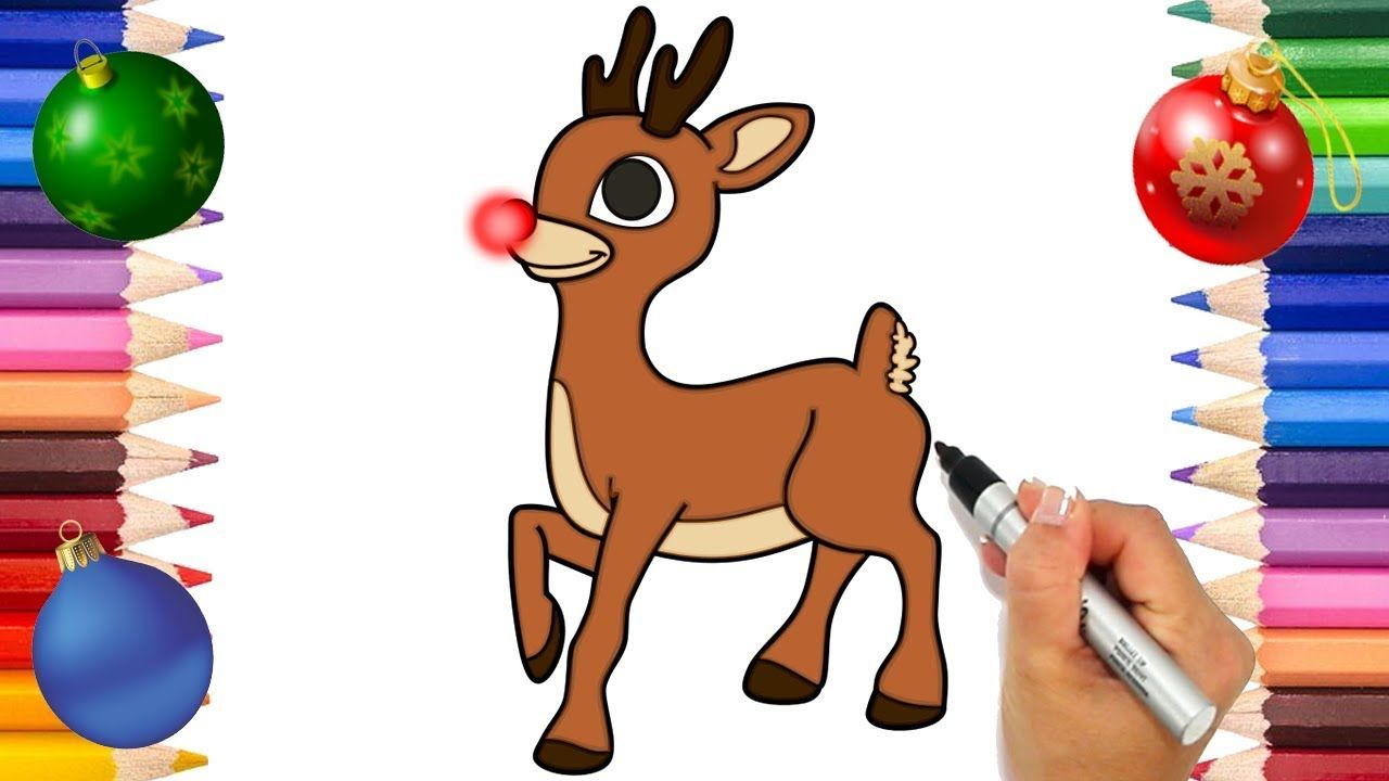 Rudolph The Red Nose Reindeer Coloring Page | Christmas Coloring ...