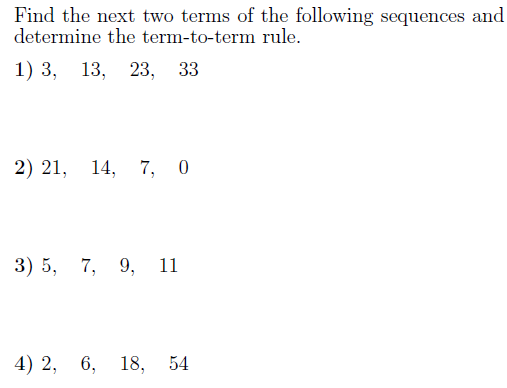 Sequences-determining the rule worksheet (with solutions): A ...