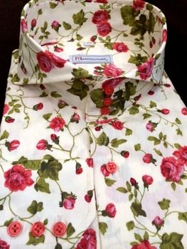 Morcouture Menswear Floral Cutaway High Collar Shirt Clothing, Shoes & Accessories