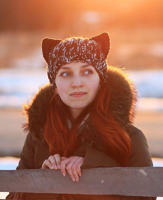 Winter fox Hat with Black ears Knitting Handmade unisex adult ...