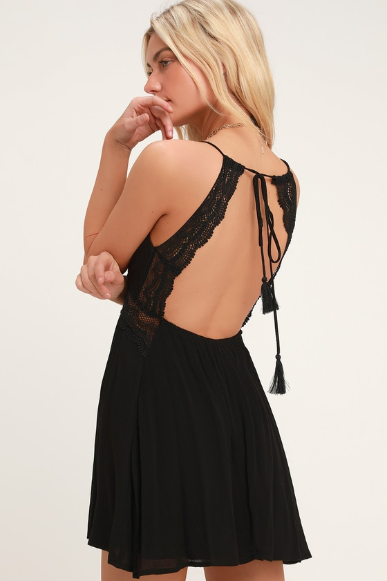 Lulus   Good Grace Black Lace Backless Dress   Size X-Large   100% Rayon #shortbacklessdress