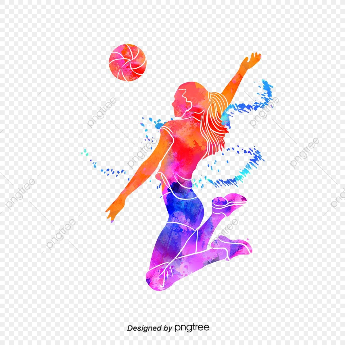 Download This Silhouettes Of Creative Volleyball Players Multicolored Sports Bodybuilding Png Clipart Image In 2020 Volleyball Players Sports Logo Design Volleyball