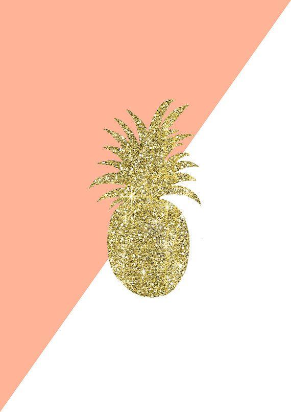 Gold Glitter Pineapple PrintRose Pink White Gemetric PrintInstant Digital Download