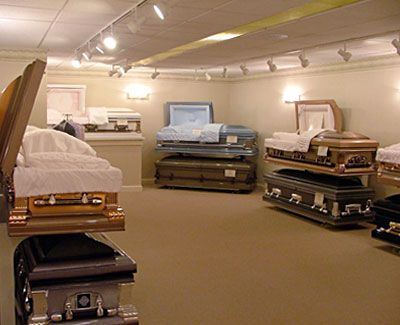 Inside funeral homes funeral home casket selection room Embalming room design