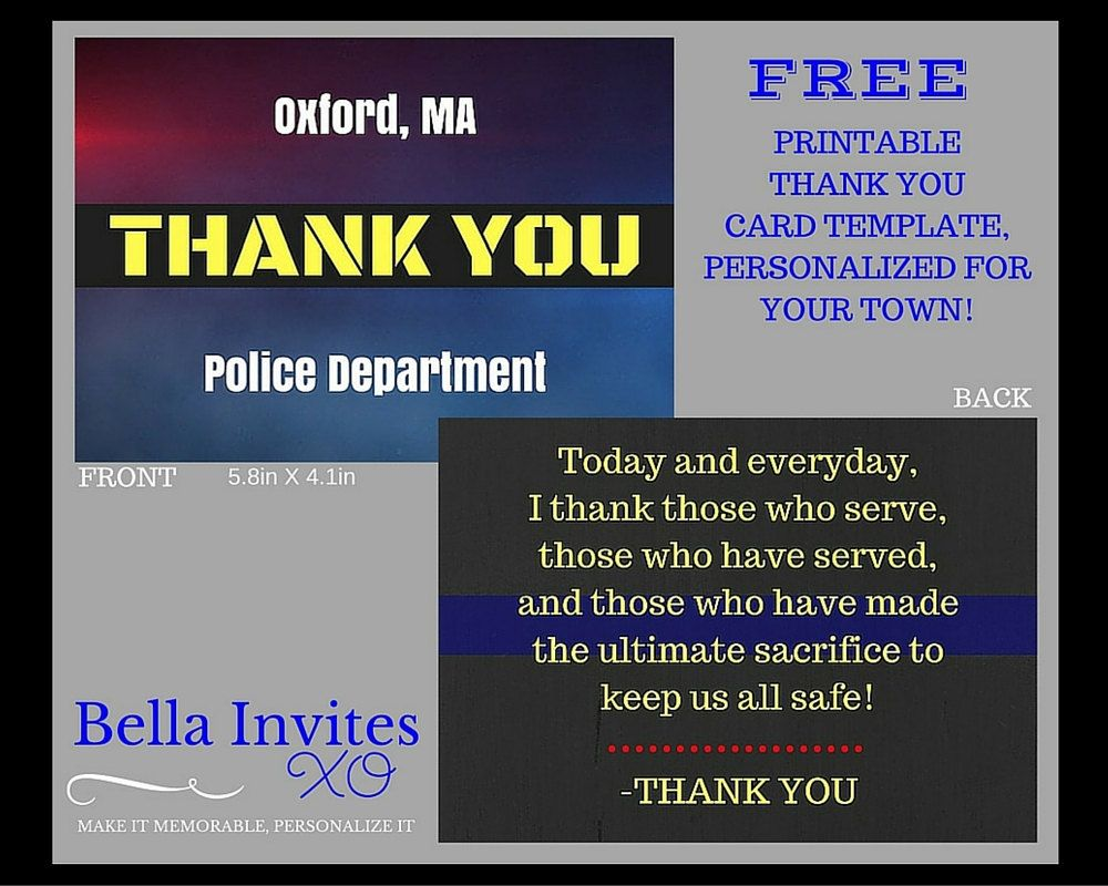 Police Officer Thank You Card Printable Template Front And Back Jpg Files Template Printable Thank You Cards Police