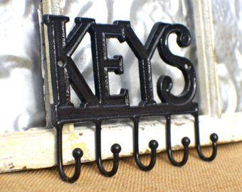 Key Rack Wall Decor Hook Holder Car Keys Rubbed Oil Bronze Rail