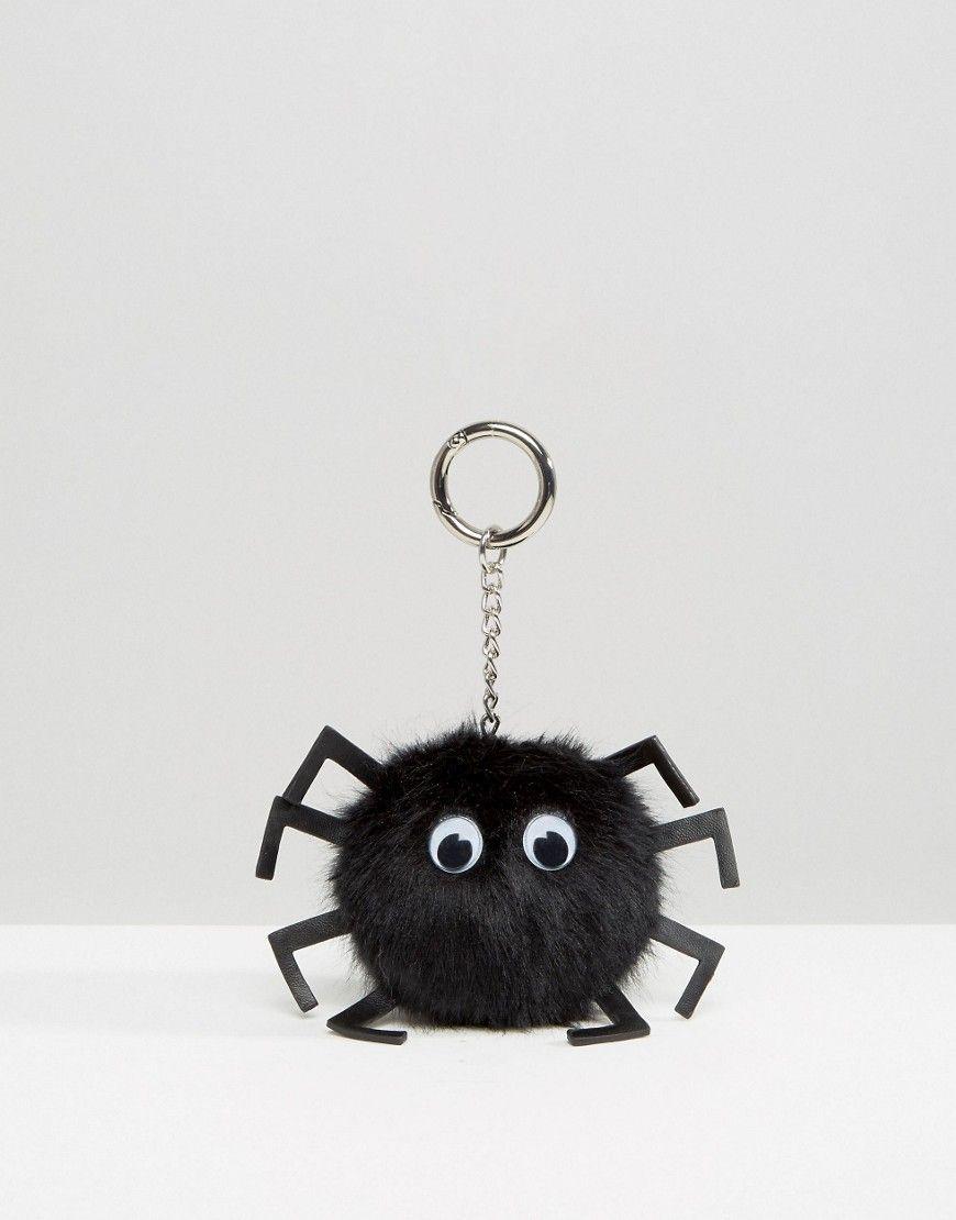 Halloween Spider Pom Bag Charm Key Ring