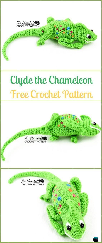 Crochet Amigurumi Clyde the Chameleon Free Pattern&Video - Crochet ...
