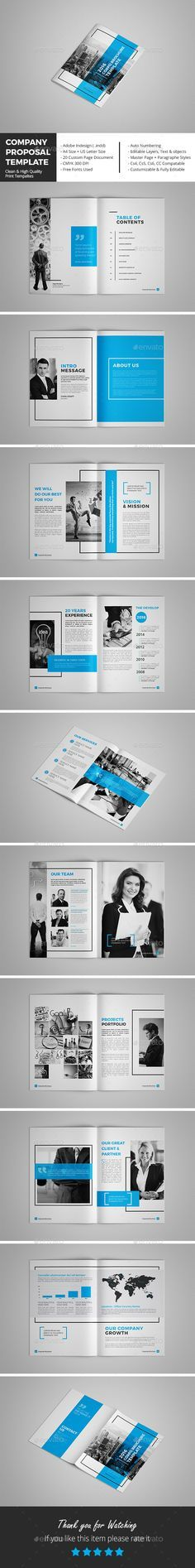 Company Proposal Template Proposal templates, Indesign templates - it services proposal template