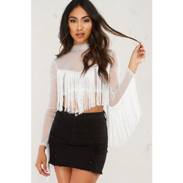 4756bbbec4e9fc Western Fringe Mesh Crop Top ( 37) ❤ liked on Polyvore featuring tops