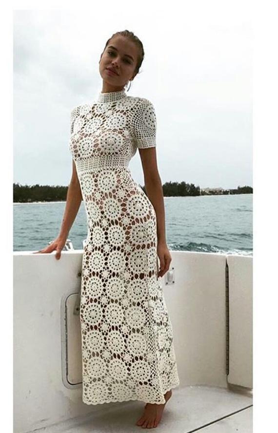 Vestido de ganchillo de la boda, ropa de Bo Ho, vestido gitano, Vintage, ideas de regalo, vestido de verano, playa hecha a mano