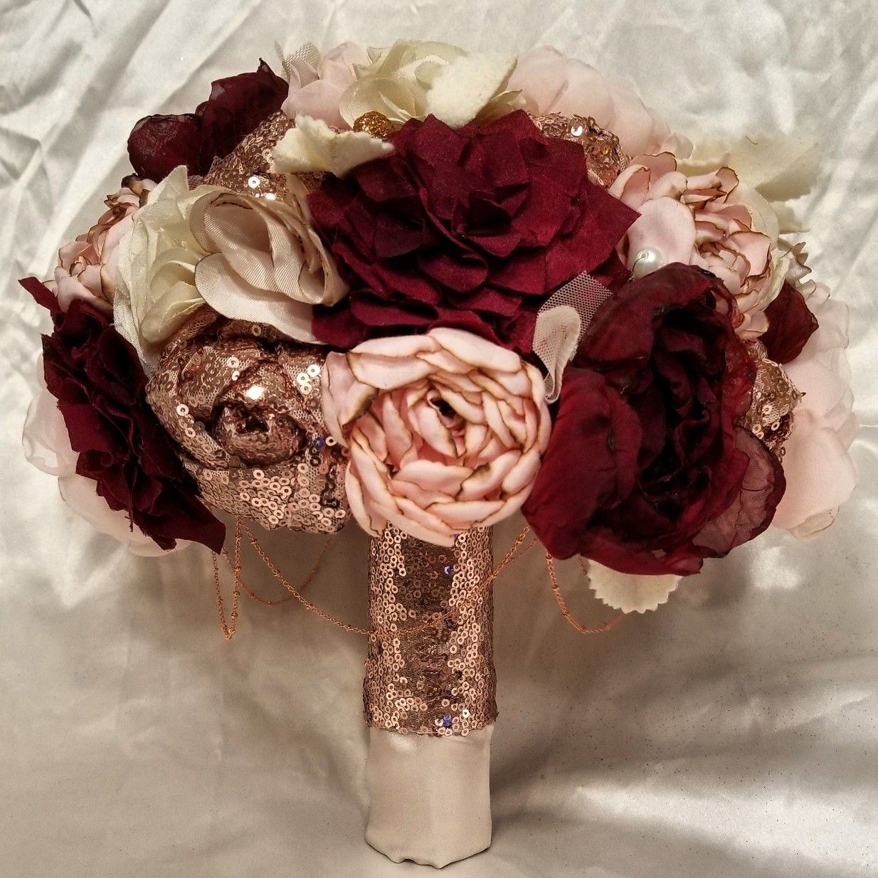 Rose Gold fabric bouquet Gold wedding bouquets, Gold and