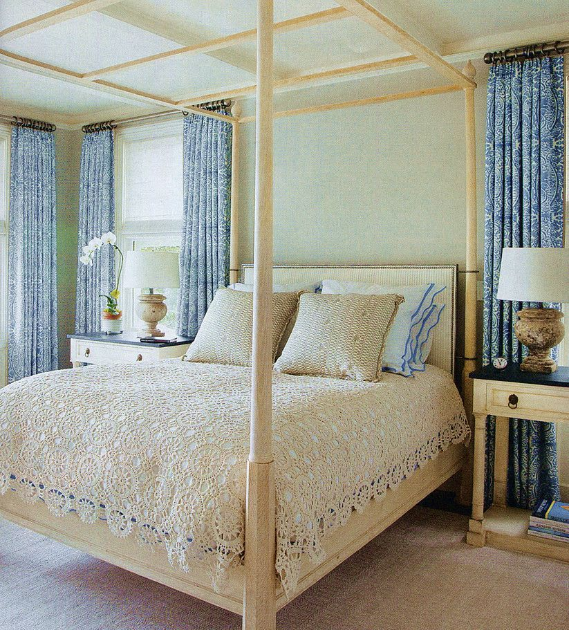 52 Small Bedroom Decorating Ideas That Have Major Impressions: Quadrille Fabric: Carlo II