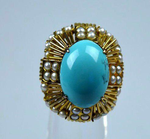 Fine Chinese 14K Gold & Turquoise Custom Jewel Set : Lot 18