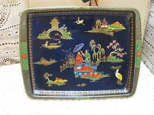 Daher Decorated Ware Tray Made In England Vintage Daher Decorated Ware Japanese Scene Metal Snack Tray Made