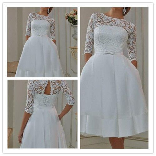 White/Ivory Tea Length Short Vintage Lace Wedding Dress Size 6 8 10 ...