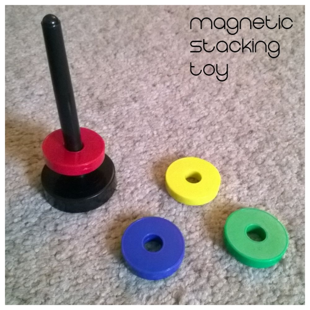 Quiet lap activities for traveling with a toddler: MAGNETIC STACKING TOY