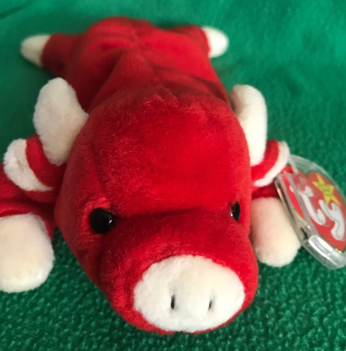 8b64f9dc1da Ty Beanie Baby SNORT The Red Bull PVC MWMT 9 1995 Vintage Stuffed Animal Toy