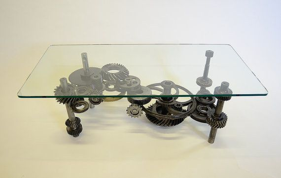 This Coffee Table Made Of Gears Steampunk Furniture Steampunk
