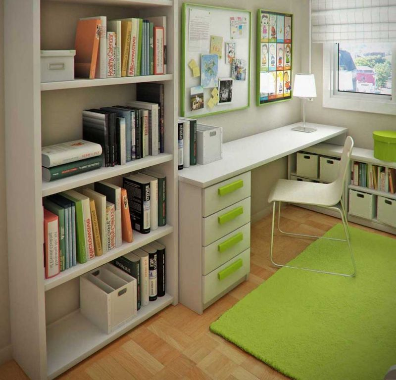 Study Room Color Ideas: Small Bedroom Decorating With Green Color Schemes