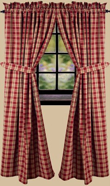 Providence Plaid Barn Red Curtain Panels 72 X 63 Red Curtains