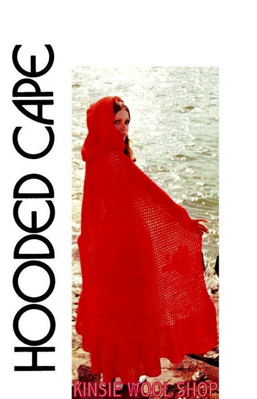 vintage 70s crochet hooded cape killarney cloak by. Black Bedroom Furniture Sets. Home Design Ideas