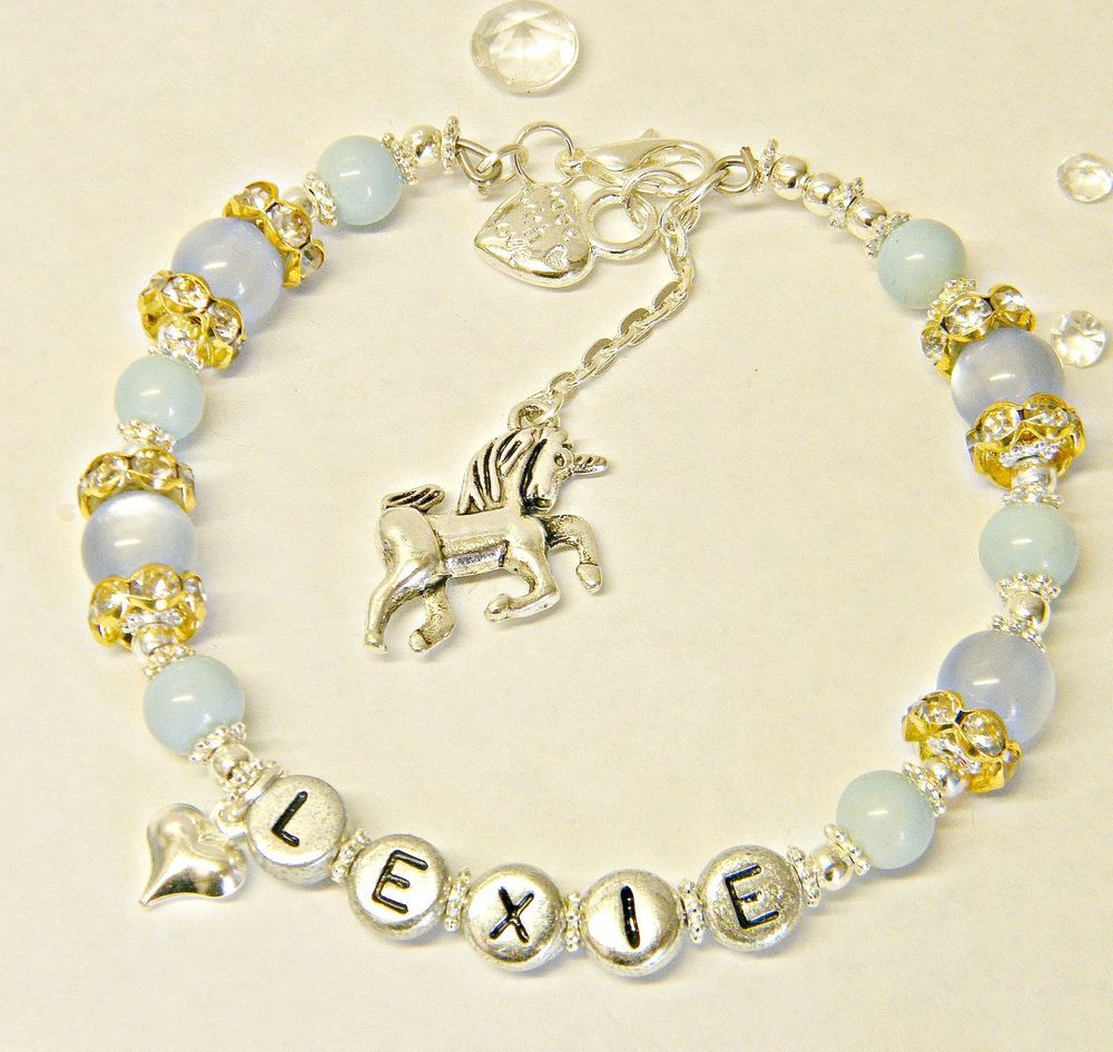 Details About Personalised Name Jewellery Crystal& Silver Unicorn Charm  Bracelet Mythical Gift