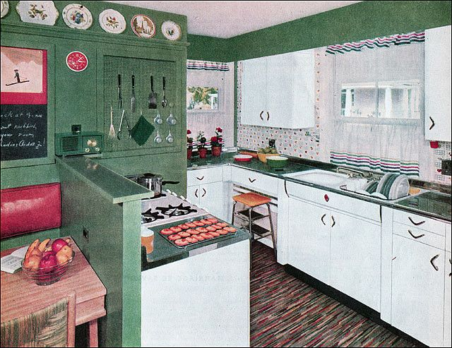 1954 Green White Kitchen Retro Home Decor Vintage Kitchen Cabinets Vintage House