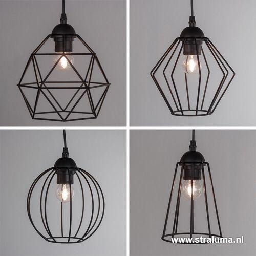 Eettafel draad-hanglamp zwart 4-lichts - www.straluma.nl ...