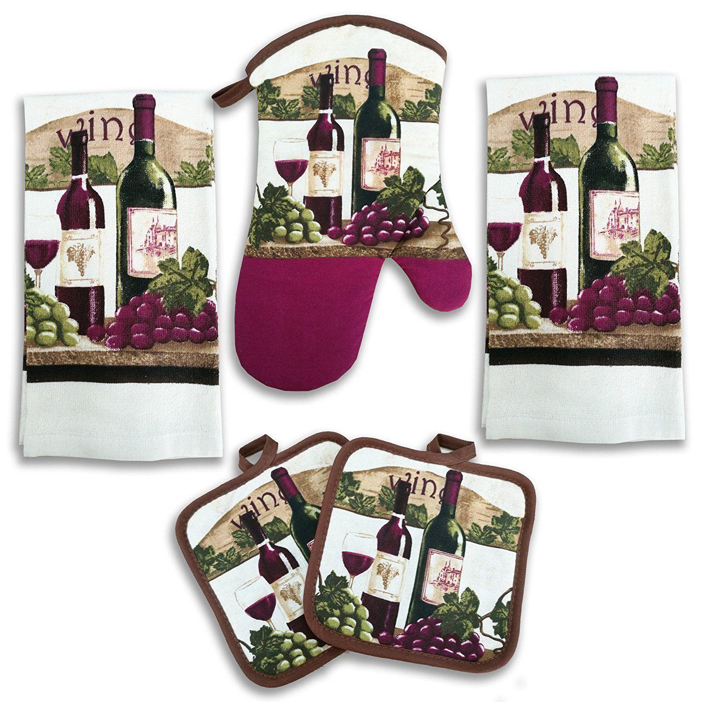 wine bottle kitchen decor 5 piece linen set | kitchen