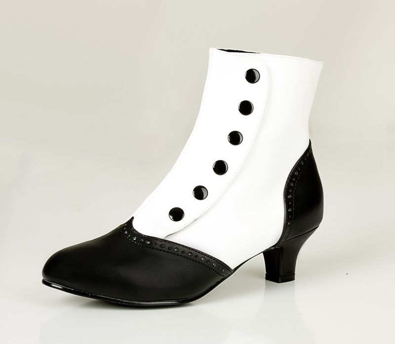 White/Black Snap on Button Ankle Boots for $60.45 from Uturn ...