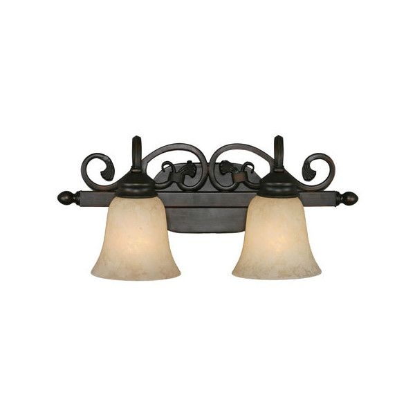 Golden Lighting Belle Meade Rubbed Bronze Two-Light Bath Fixture ($139) ❤ liked on Polyvore featuring home, lighting, wall lights, bronze wall lamp, bronze wall lights, two bulb lamp, bronze sconces and dual light