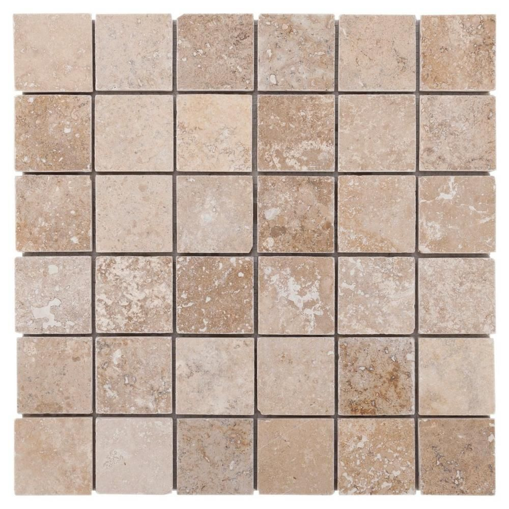 Decorative Travertine Tile Karina Wavy Travertine Mosaic  12Inx 12In 932100191  Floor