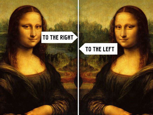 In which direction is Mona Lisa turned?