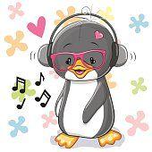 Pinguim com fones de ouvido