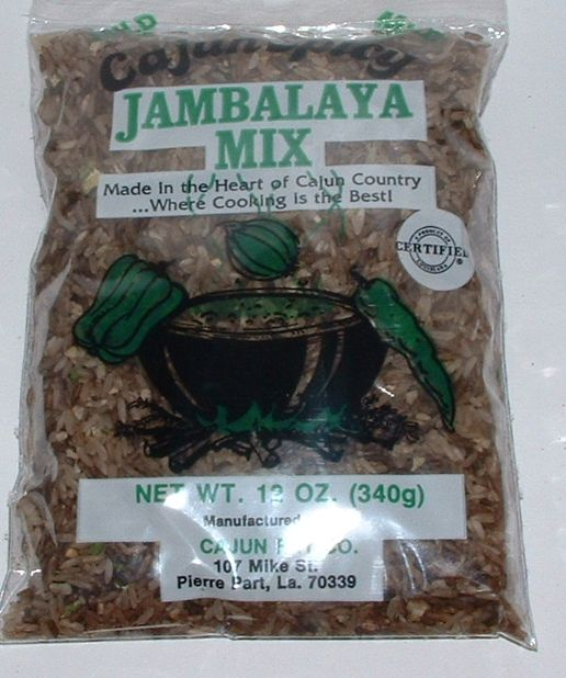 """CAJUN JAMBALAYA MIX from Cajun Fry Co. Inc., Pierre Part, Louisiana - I love the first line of the directions on the back: """"Fry choice of meat down in 3 large tablespoons of grease.""""  Don't let that scare you.  This stuff is authentic and delicious!"""