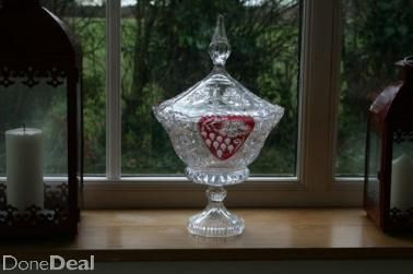 Cut Glass Vase with Lid